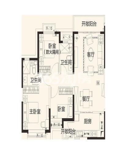 恒大翡翠龙庭8#楼1单元01户3室2厅1卫1厨119.12㎡