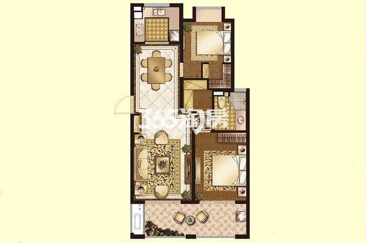 世茂运河城高层2#144㎡标准层A1户型