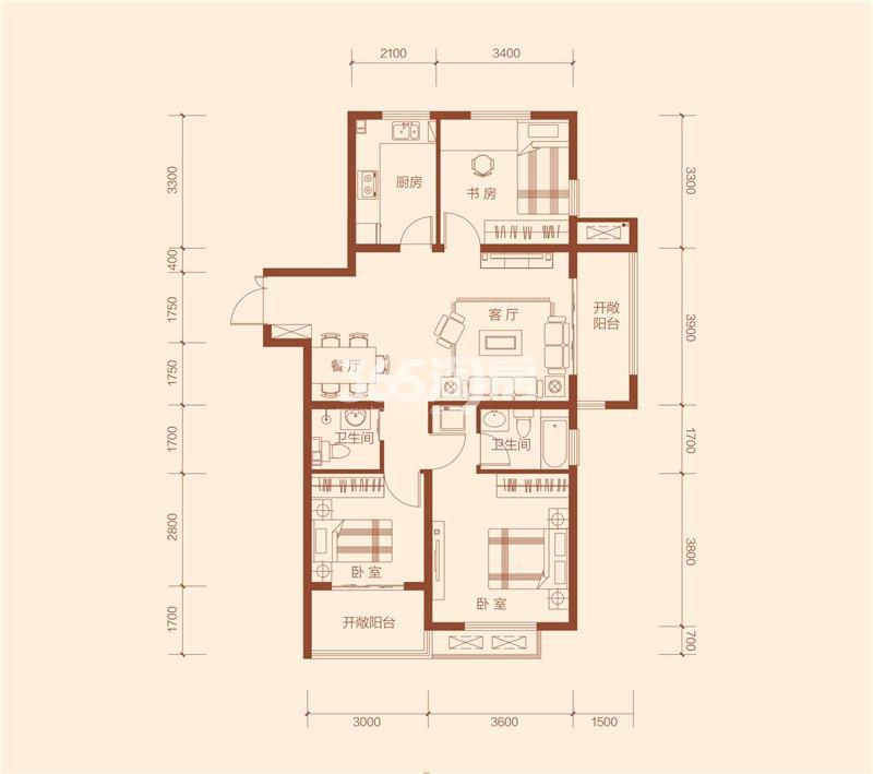 G5#楼户型112.48㎡三室两厅两卫