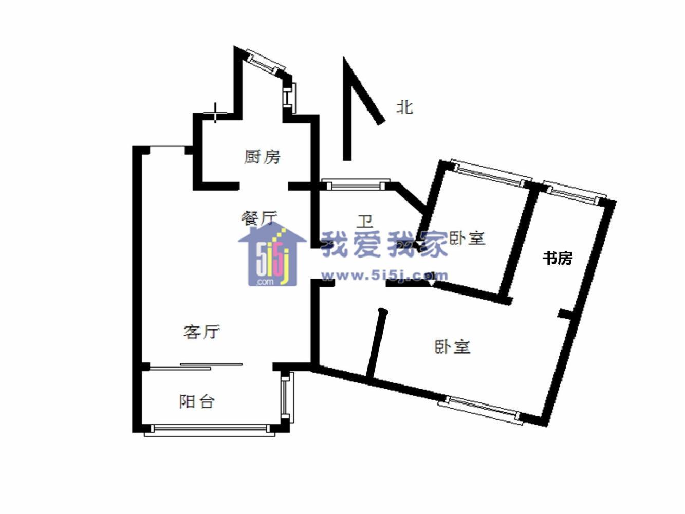 鼓楼区热河南路世茂滨江新城2室2厅户型图