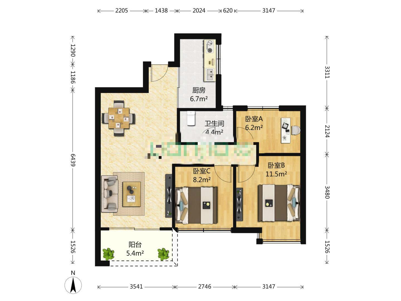 万科九都荟3室2厅1卫93平米精装产权房2016年建