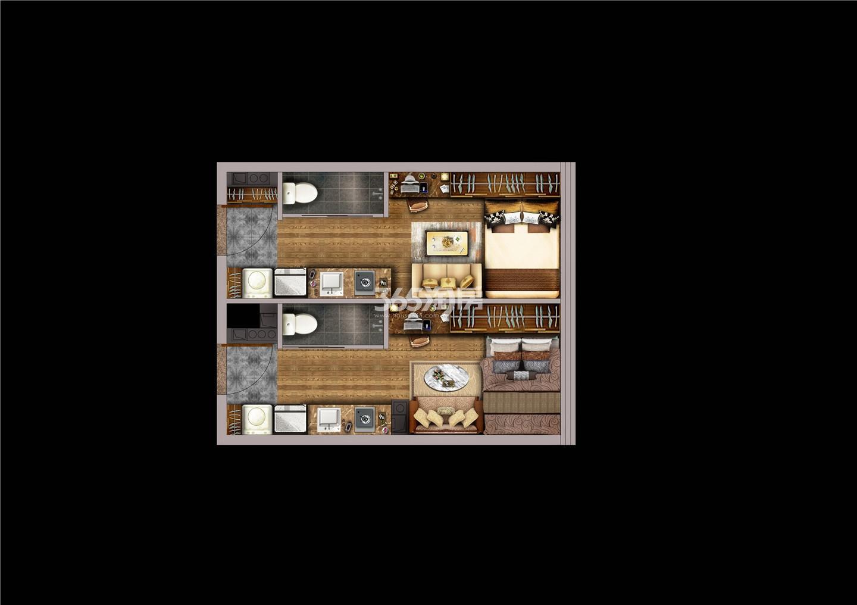 金轮峰华3.5米双钥匙公寓户型图52㎡