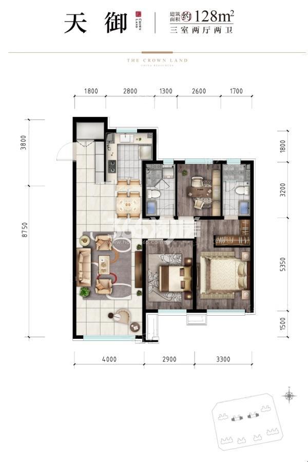 建面128平米户型