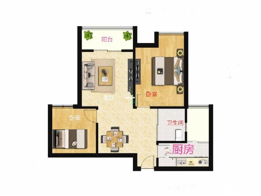 中电颐和家园一期2室2厅1卫80平米简装产权房2011年建