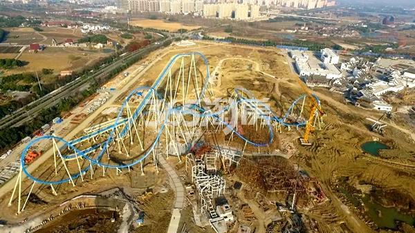 无锡万达城主题乐园飞翼过山车工程进度实景图(2017.12摄)