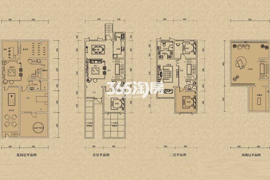 二期联排别墅B2户型  3室2厅1厨2卫 172.00㎡