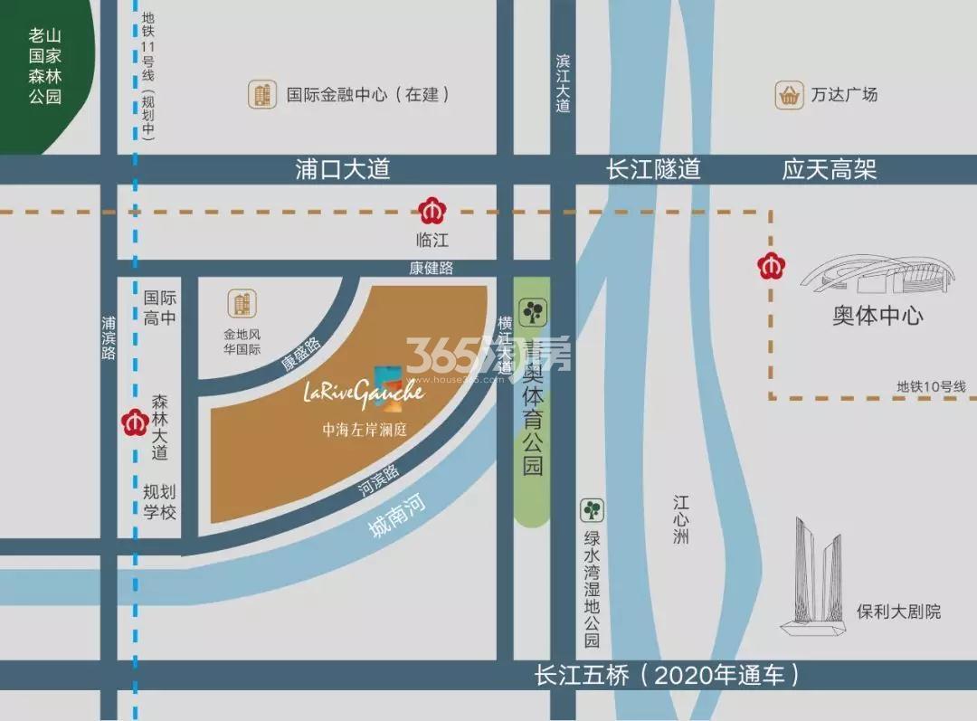 中海左岸澜庭交通图