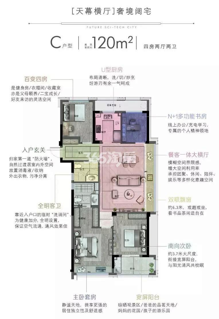 杭语蓝庭3-5、9-10号楼边套C户型约120㎡ 空间展示