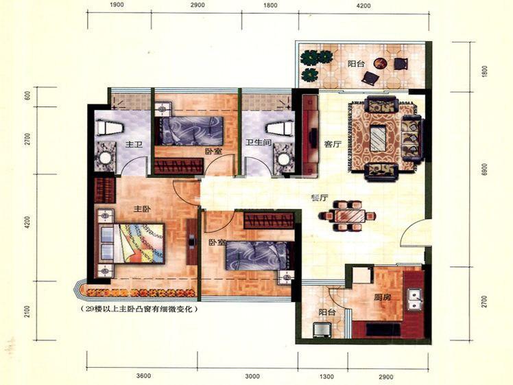 二期3#1单元01户型 3室2厅2卫