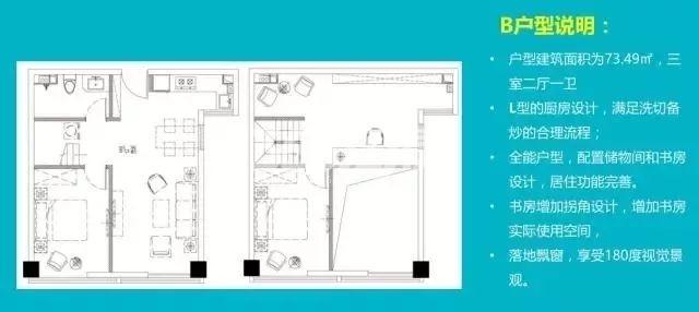 华夏茶里水街茗座公寓B户型73.49㎡