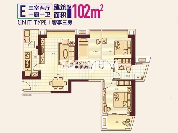 顶琇国际城3室2厅1卫1厨102.00㎡1#E户型图