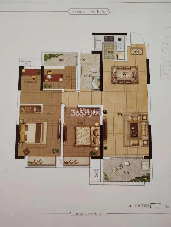 安庆高速时代公馆三室两厅一卫102㎡C户型图