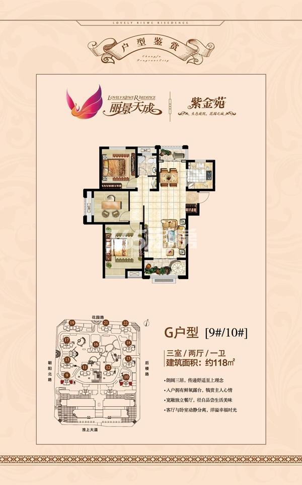丽景天成(三期紫金苑) G户型三室两厅一卫118㎡