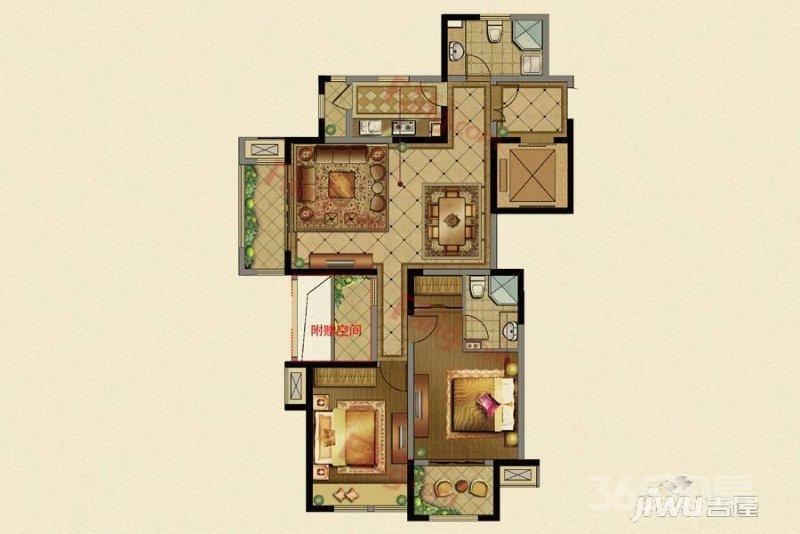 昆山花溪公馆3室2厅2卫117�O