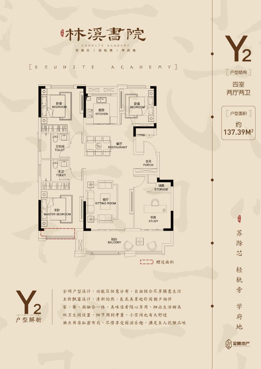 金鹏林溪书院137.94㎡Y2户型图