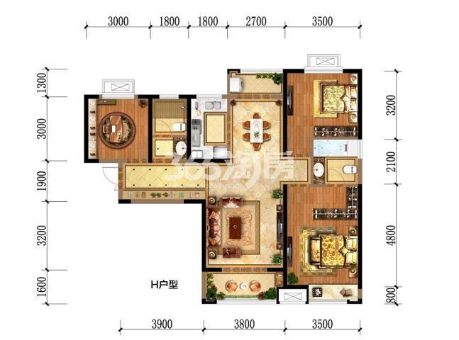 瑞和大唐府邸H户型三室两厅两卫一厨125.54m2