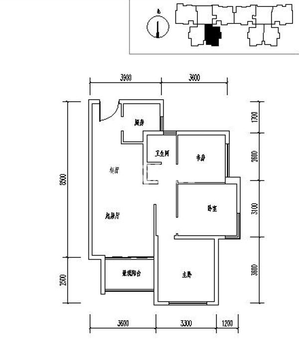 龙记玖玺31#三室两厅一卫一厨91平