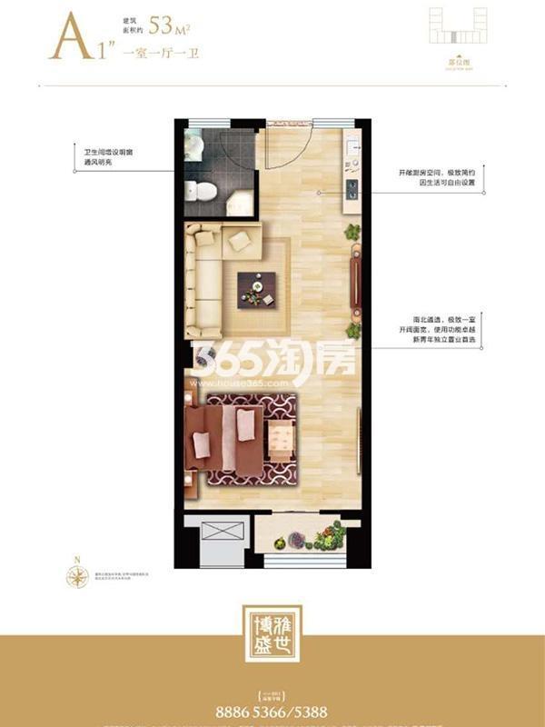 天海博雅盛世一室一厅一卫53平米