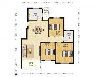 旭日上城3室2厅1卫108平方米275万元