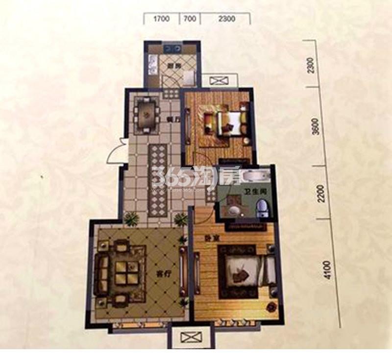 户型图 B户型 90.39平米 二室