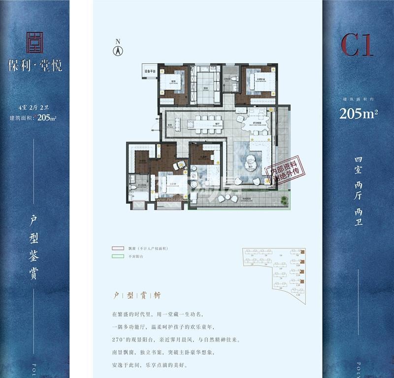 保利堂悦C1-205㎡户型图