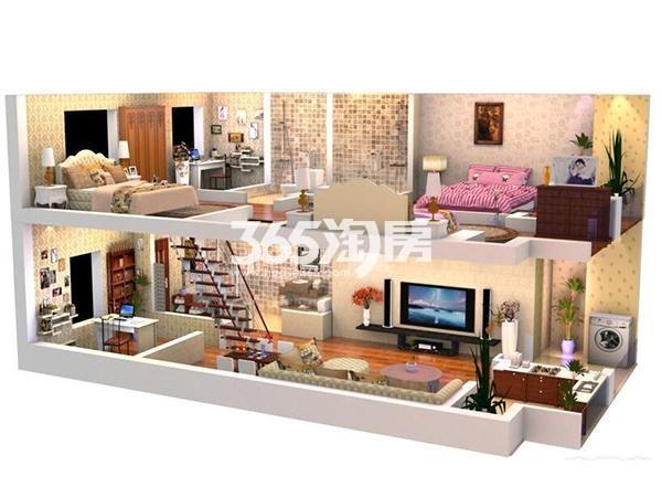 E3户型3室2厅3卫1厨  建筑面积约66.39平米