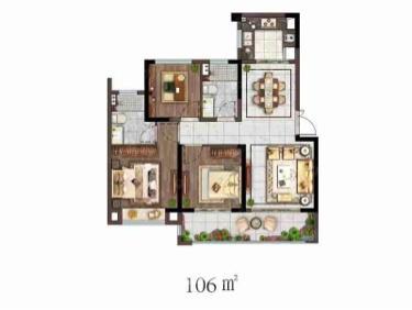 龙运天城3室2厅2卫105�O