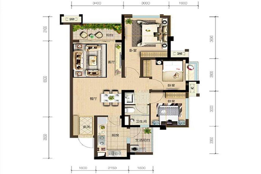 2期B4户型3室2厅1卫建面约81㎡