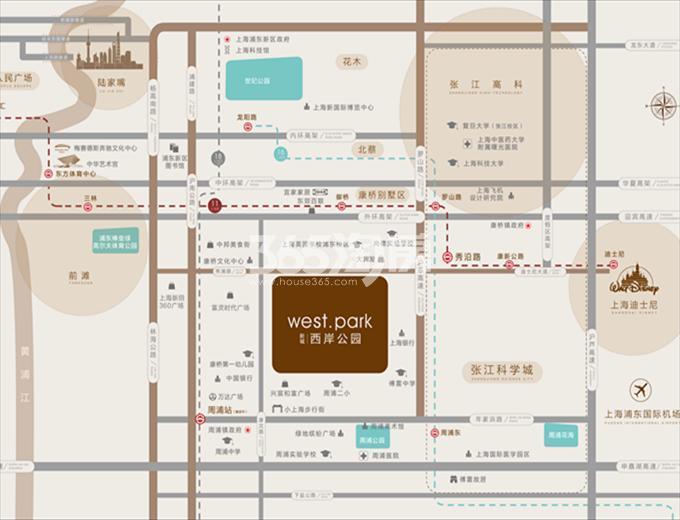新城西岸公园交通图