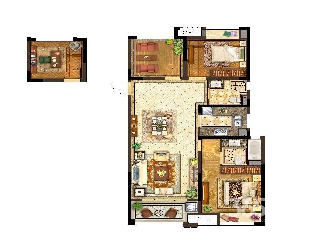 保利公园九里,3室2厅2卫,105�O毛坯,无贷款,未满两年
