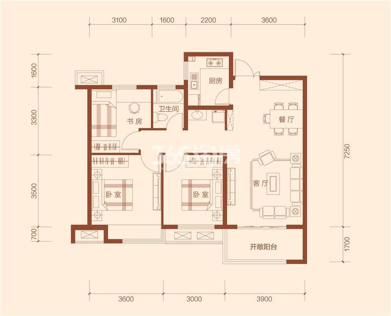 G2户型三室两厅一卫建筑面积约103.76㎡