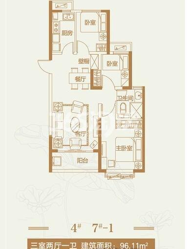 恒大翡翠龙庭2#4#7#9#楼-1户型3室2厅1卫1厨96.11平