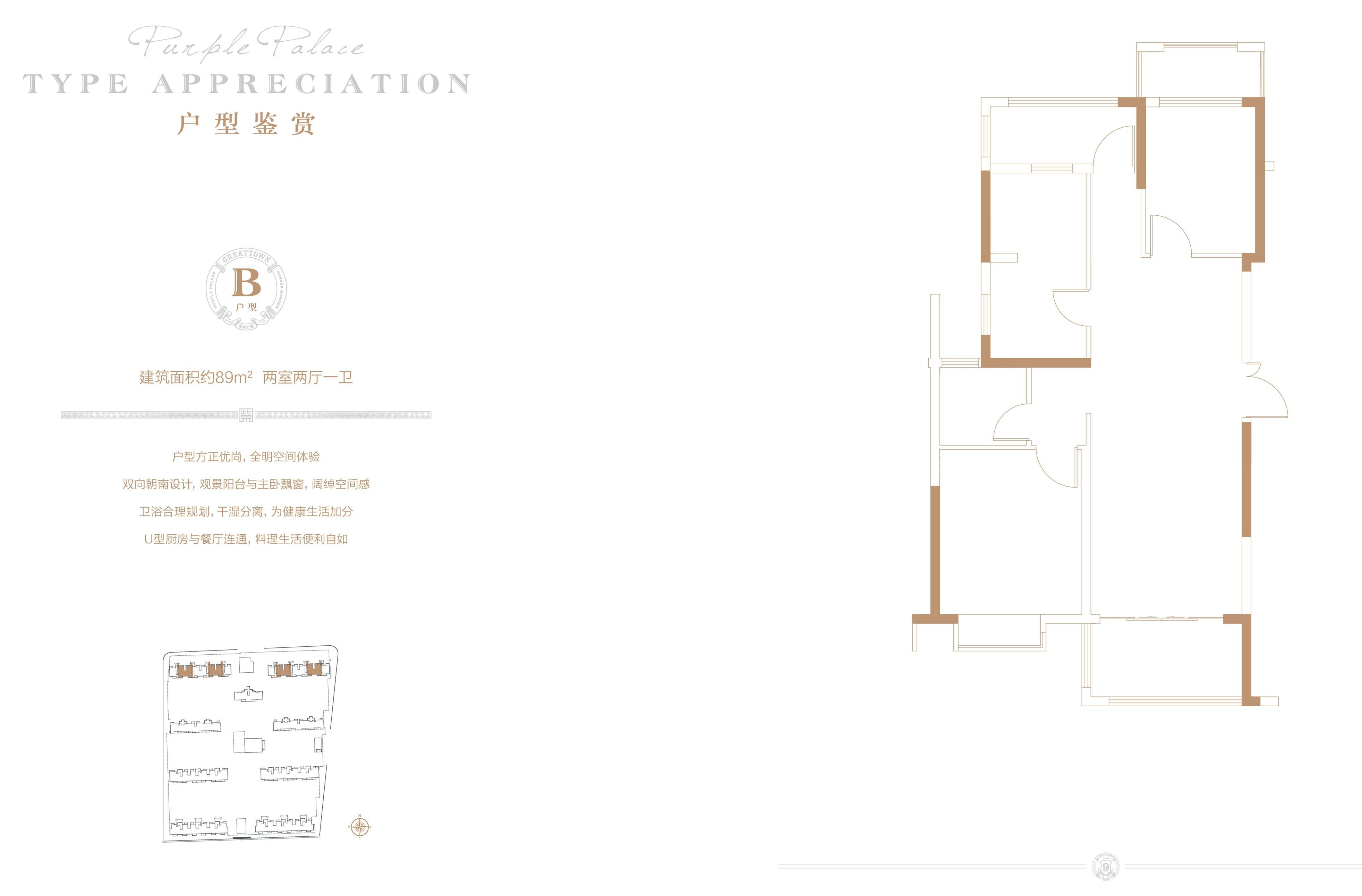 大名城·紫金九号89㎡两室两厅一卫B户型