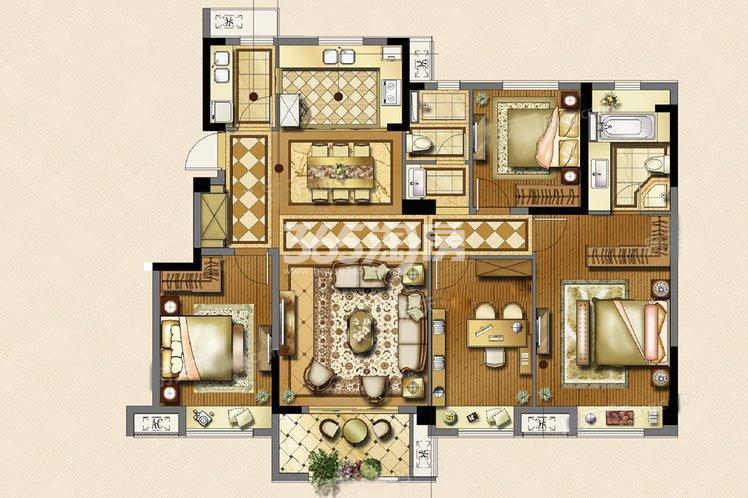 雅境户型4室2厅2卫1厨141.00㎡