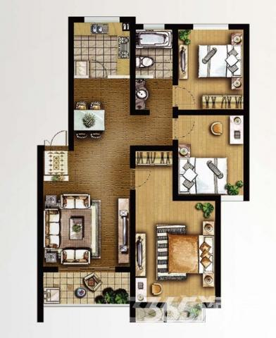 旺运花园3室2厅1卫100平米整租精装