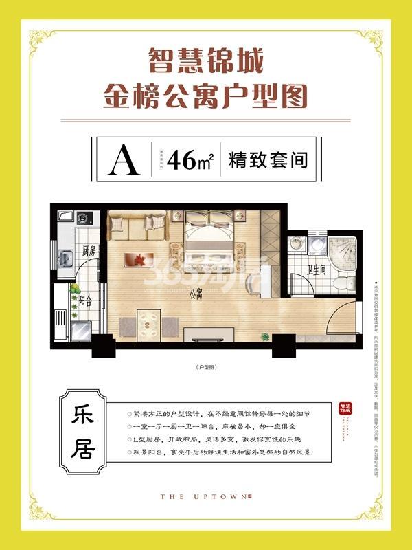 智慧锦城 A户型 一室一厅一卫 46m2