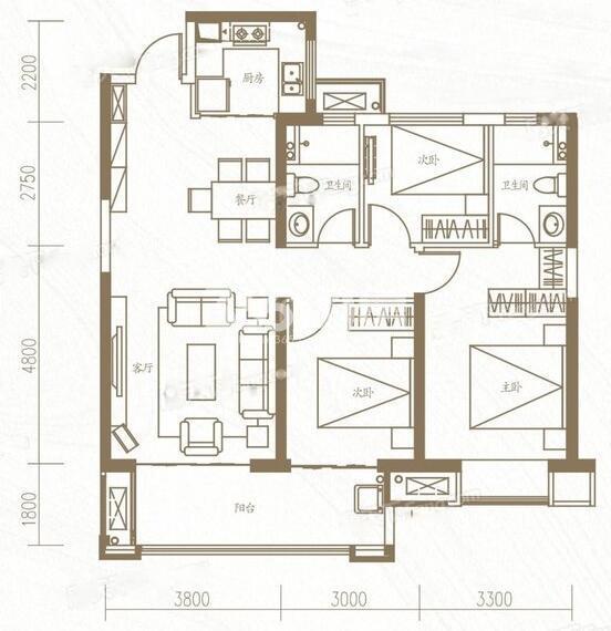 金地中心风华三室两厅112㎡户型图