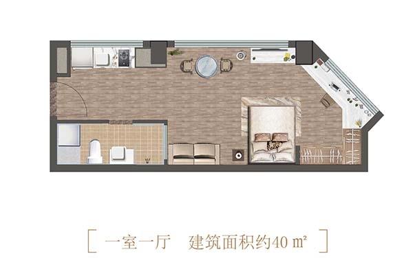 诚通龙蟠汇公寓40㎡户型图