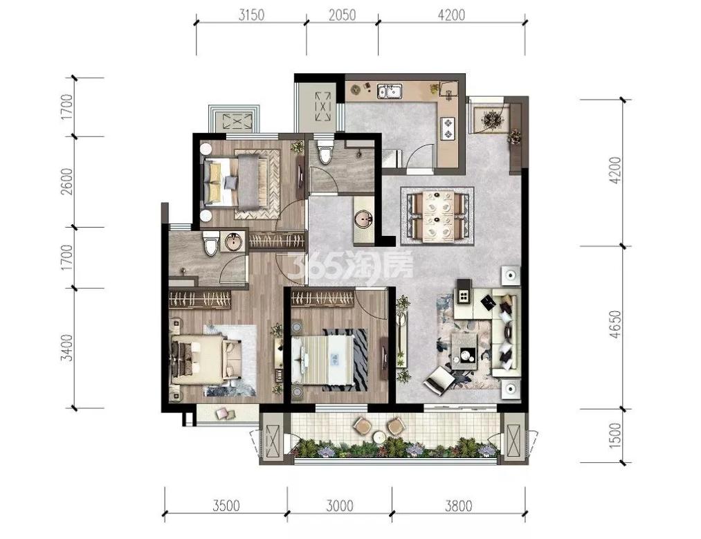 紫薇西棠项目114㎡三室两厅两卫户型图