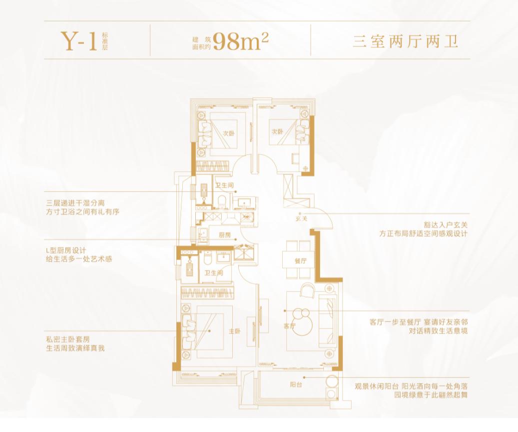 合景庐月湾Y-1户型98㎡