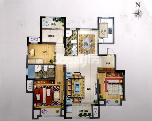 洋房125㎡四室户型