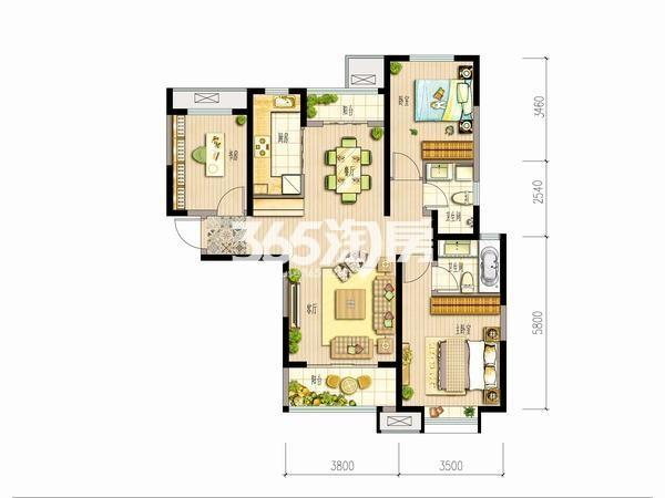 大华锦绣前城三室两厅一厨两卫115平米