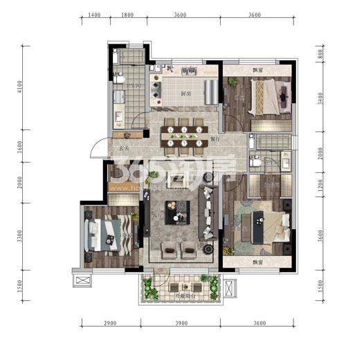 信达万科城 洋房115平米