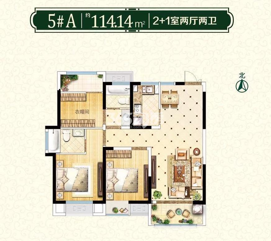 5#A户型2+1室两室两卫约114.14㎡