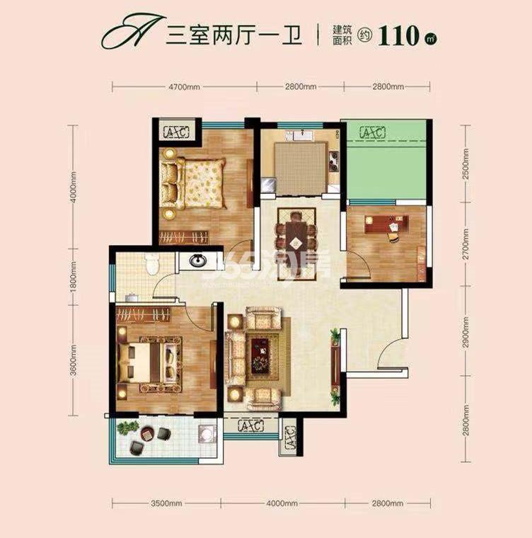 城市锦上三室两厅一卫110㎡户型图