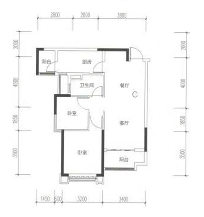 2#标准层两室C户型图