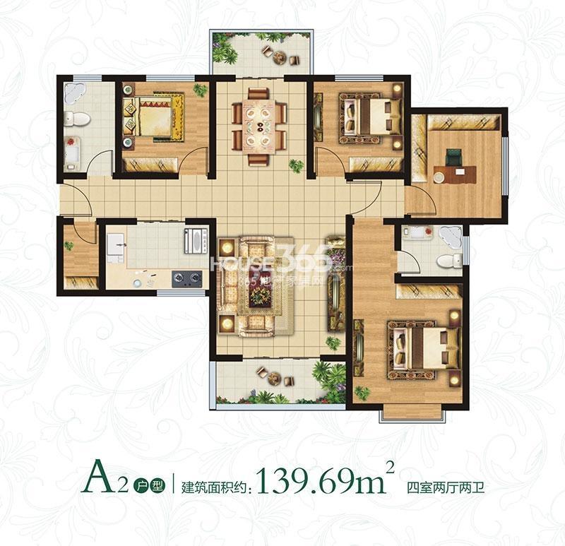 万象春天A2户型四室两厅两卫约139.69㎡