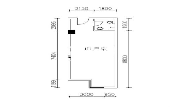 金叶新城U1户型一室一厅一卫一厨57.55平