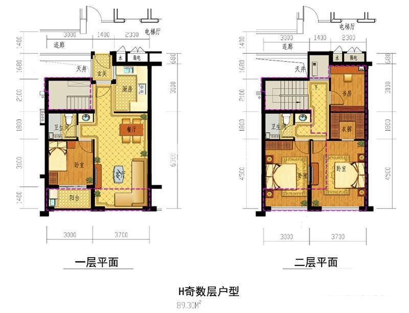 春意江南名邸H户型奇数层约89㎡ (1、2、3、4、6#)