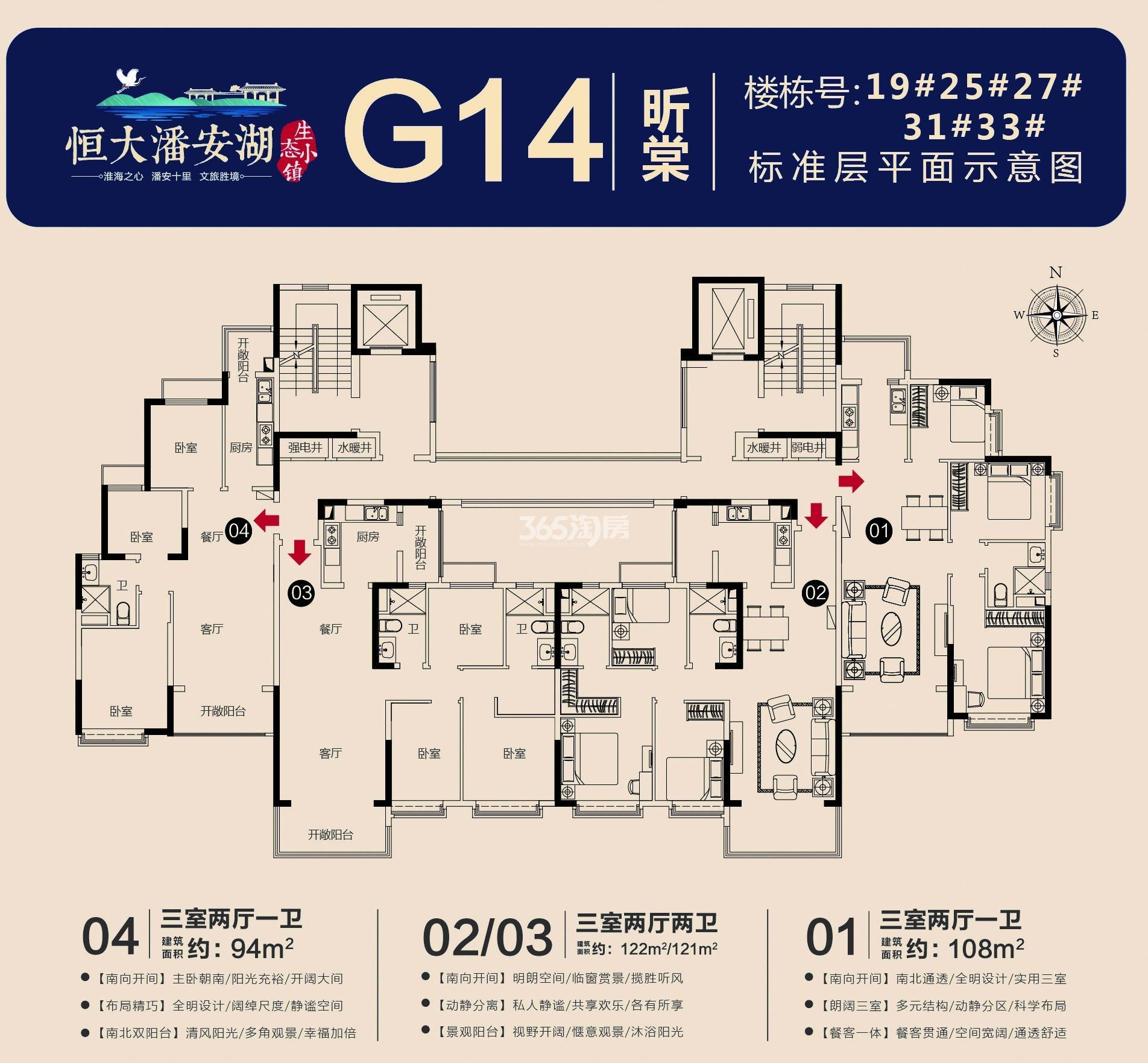 恒大潘安湖生态小镇G14户型图(约94、108、122㎡)